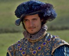 Here is King Francois I as portrayed in The Tudors miniseries. I was especially taken with the clothing!