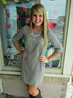 Houndstooth Happy Dress #dress #hillarysboutique #boutique #houndstooth #fall #gameday