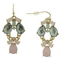 Women's Dangling Earrings with Metal and Stone - Pink/Gold/Teal