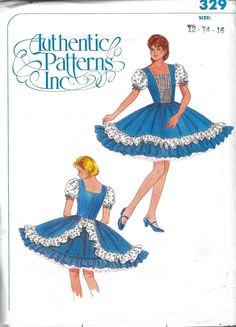 Authentic Patterns 329 Sewing Pattern; Ladies Square Dance Dress. UNCUT/Factory Folds. Size 12, 14, 16. Bust 34, 36, 38.  Square dance dress has fitted bodice with square neckline in front and back. Bodice front inset is trimmed with multiple rows of pre-gathered eyelet trim. Elasticized puffed sleeves are of contrasting fabric (eyelet) and are accented with fabric bows. The gathered gored skirt has a self ruffle around the lower edge and a contrasting upper ruffle (eyelet) that sweeps u...