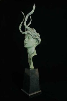 Bronze Sculptures of females by artist Carl Payne titled: 'Persephone (bronze Beautiful Woman female Head Face Bust statue)'