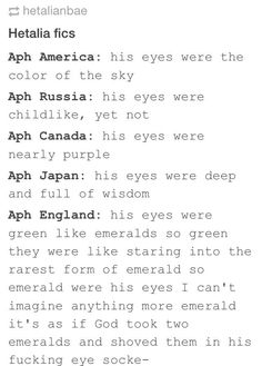 "This makes me think of a Hetagame game that's in human au (i think it's called Blood of the Rose) where Russia's just like ""your eyes are like emeralds"" or something like that"
