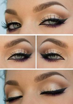 Long winged eyeliner with the crease defined and darker shadow under the eye - Make-up Eye Makeup Tips, Makeup Goals, Skin Makeup, Makeup Inspo, Makeup Inspiration, Beauty Makeup, Eyeliner Ideas, Makeup Ideas, Makeup Brushes