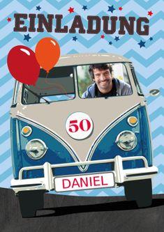 Witzige Einladungskarte zum Geburtstag in Retro-Stil mit VW Bus und Foto (50. Geburtstag)