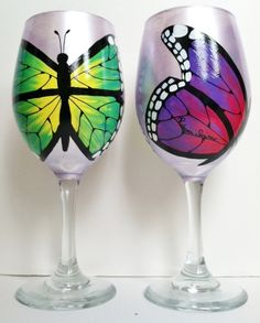 Set of 2 Butterfly Wine Glasses by WineMe on Etsy, $60.00