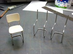 Dollhouse Miniature Furniture - Tutorials | 1 inch minis: How to make a metal tubular kitchen chair