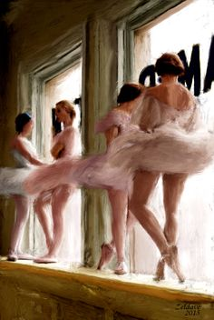 Ballet Dancers:  Digitally painted, colorized, vintage photo