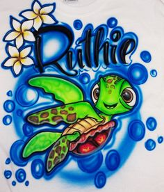 Airbrushed Tshirt  Finding Nemo Turtle  Sizes by AirbrushWorld, $18.95