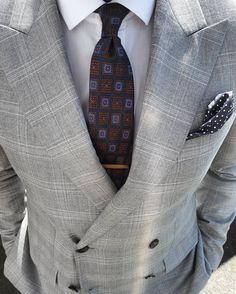 Bows-N-Ties — Medallion wool tie and polka dot hanky.