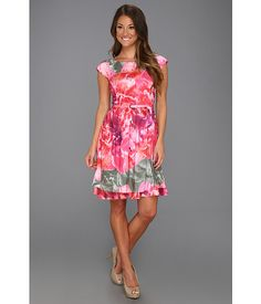 Suzi Chin for Maggy Boutique Cap Sleeve Full Skirt w/ Layers Dress Multi - 6pm.com