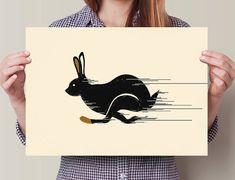 Running Rabbit Nursery Decor Home Decor Wall Art by StayGoldMedia