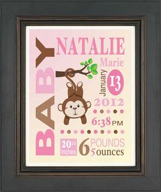 Baby Girl Birth Announcement Print by KreationsbyMarilyn on Etsy, $15.00
