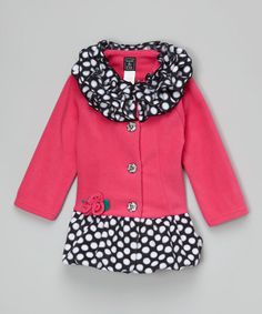 Another great find on #zulily! Hot Pink Ruffle-Collar Bubble Coat - Infant & Toddler #zulilyfinds