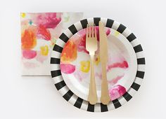 Black + White Party Supplies | Floral Escape Dessert Plates  | Black Tie Party Ideas | Black Tie Party Plate | Wooden Cutlery | Floral Escape Theme Napkins|  Original Party Designs by Papereskimo.com