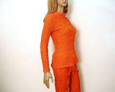 Vintage 1970s Crinkle Blouse Bright Orange by LookAgainVintage