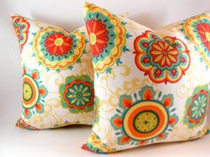 "Pillow Cover Indoor Outdoor Orange Red Yellow Green Teal Any Size ..up to 20"". $20.00, via Etsy."