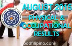 The Professional Regulation Commission or PRC announces the official results of the August 2015 Physical Therapist and Occupational Therapist board exam. The commission administered this PT & OT board exam on August 8 & 2015 in cities of Manila and Cebu. Occupational Therapist, Physical Therapist, Board Exam Result, Exam Results, Announcement, Physics, News, Top, Occupational Therapy