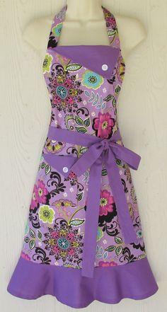 Purple Floral Apron Retro Style Apron Full Apron Orchid