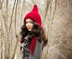 Red Womens Hat  Red Pixie Hat Cranberry Red Knit Hat  by pixiebell