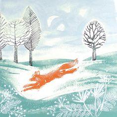 Country Living / Linen Prints / Run Foxy Run Greetings Card