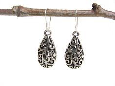 filigree earrings - teardrop earrings - sterling silver ear hooks - handmade by Rockin'Lola