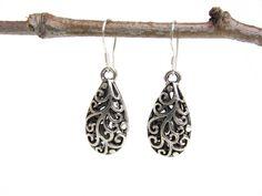 filigree earrings - teardrop earrings - sterling silver ear hooks - handmade by Rockin'Lola