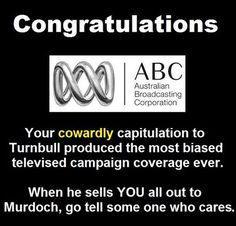 YOU ARE FINISHED ABC. WHEN THEY SELL YOU , WHICH I SINCERELY HOPE THEY WILL , TELL SOMEONE WHO CARES.