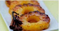 """É possível uma sobremesa contribuir para a perda de peso? É sim. E a prova disso é o assado de abacaxi. O """"astro"""" da receita, o abacaxi, é o responsável pela proeza."""