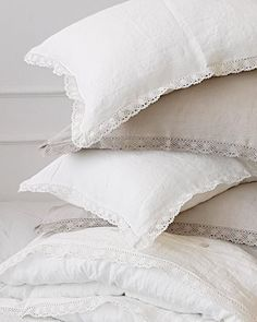 Linen lace pillowcase in natural flax grey or off-white linen - stonewashed linen pillow sham - standard Queen King body linen pillow covers Lace Bedding, Linen Duvet, Linen Pillows, Bed Pillows, Bed Linens, Bed Linen Design, Luxury Bedding Sets, Duvet Sets, Bed Sheets