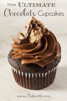 These Chocolate Cupcakes are so moist with a chocolate ganache center topped with incredibly creamy chocolate frosting... .