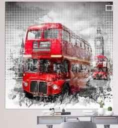 Graphic Art LONDON WESTMINSTER Rote Busse  von Melanie Viola  #London #wandbild #modern #bus #shopping #art #wohnen #kunst #typisch #Straßenszene #bus #digitalart #digitalartist