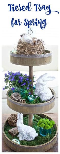 Tiered Tray Decor for Spring and Easter Tiered Tray Decor for Spring and Easter. Porches, Galvanized Tray, Seasonal Decor, Holiday Decor, Holiday Ideas, Spring Home Decor, Decorating For Spring, Tiered Stand, Easter Crafts