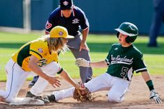 Chula VIsta, Calif., second baseman Micah Pietila-Wiggs, left, puts the tag on Westport, Conn.'s Matt Stone (5) for the out at second in the fourth inning of the U.S. championship game at the Little League World Series in South Williamsport, Pa., Saturday, Aug. 24, 2013. (Gene J. Puskar/AP)