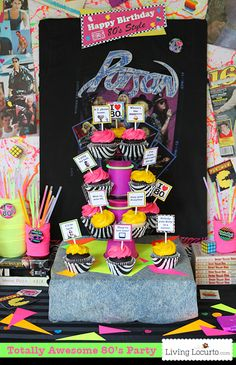 Totally Awesome 80's Neon Birthday Party Ideas and party printables! LivingLocurto.com