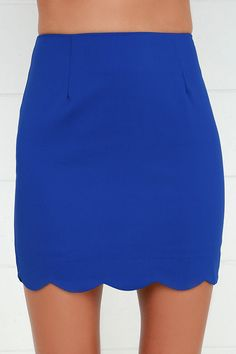 """Take a little bit of mischief with some flirting on the side, and you've got a sexy little combo with the Scallop to Something Royal Blue Two-Piece Dress! Medium-weight stretch knit forms a plunging, scalloped V neckline on the sleeveless top with princess seams and a cropped hem. Matching skirt has a figure-skimming fit that falls from a high, darted waistline to a cute scalloped hem. Exposed silver zipper at back. Small top measures 16"""" long. Small bottom measures 16.5"""" long."""