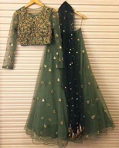 Lovely olive green and gold net heavy embroidered lehenga with long sleeve choli Bhumika sharma # lehenga # Indian wear # Indian fashion Indian Wedding Outfits, Pakistani Outfits, Bridal Outfits, Indian Outfits, Bridal Dresses, Green Lehenga, Indian Lehenga, Lehenga Choli, Anarkali