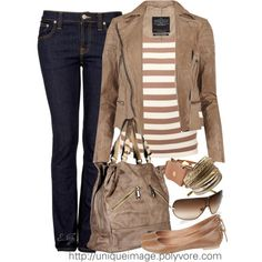 """""""Tan Striped Top on Jeans"""" by uniqueimage on Polyvore"""