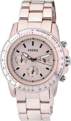 Fossil Ladies Peach Stella Aluminum Chronograph Watch CH2707