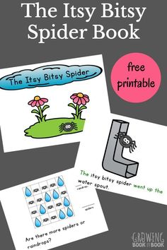 This Itsy Bitsy Spider Printable interactive book is great for toddlers, preschoolers, and new readers.  A spider puppet is included for acting out the story and using as a reading pointer. via @growingbbb