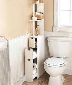 New White Wooden Space Saving Bathroom Storage Organizing Cabinet