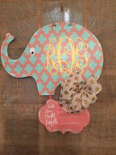 Baby Elephant Nursery/Hospital Door Hanger by craftigirlcreations Baby Elephant Nursery, Hospital Door Hangers, Wooden Signs, Wreaths, Doors, Christmas Ornaments, Holiday Decor, Etsy, Unique Jewelry