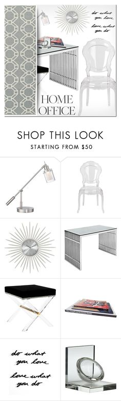 """""""Work Hard: Home Office"""" by ansev ❤ liked on Polyvore featuring interior, interiors, interior design, home, home decor, interior decorating, George Kovacs by Minka, Safavieh, Umbra and Kaleen"""