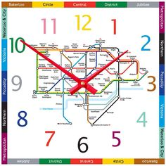 I've just found Tube Map Clock. London Tube Map Clock, an unique contemporary kitchen, study or bedroom wall clock, great traditional colours and a perfect gift. Waterloo City, Thomas Bedroom, London Tube Map, Victoria City, Tube Train, London Underground, On The High Street, Creative Business, Personalized Gifts