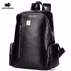 Cheap backpack male, Buy Quality pattern backpack directly from China travel backpack Suppliers: BISON DENIM Genuine Leather Laptop Backpacks School Backpack Male Travel Backpack Cowhide Crocodile Pattern Leather Book Bag, Leather Backpack For Men, Leather Books, Black Backpack, Travel Backpack, Backpack Bags, Leather Backpacks, Fashion Backpack, Waterproof Backpack