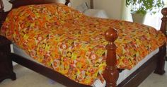 Vintage Retro Hand Made Reversible Full Queen Bed Spread