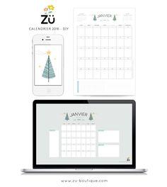 zü: Le calendrier DIY - Janvier 2016 Planning Calendar, Diy Calendar, Free Printable Calendar, Printable Planner, Calendar March, Free Poster Printables, Printable Designs, Calendrier Diy, Freebies