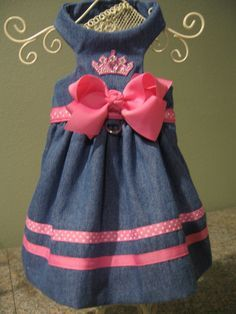 Items similar to XXS, XS, Sm, med Harness dresses in denim trimmed in hot pink on Etsy Small Dog Clothes Patterns, Large Dog Clothes, Puppy Clothes, Pet Fashion, Animal Fashion, Dog Christmas Clothes, Dog Crafts, Dog Items, Princess Outfits