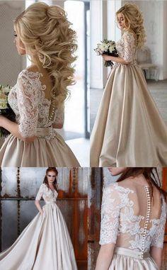 2017 prom dress, long prom dress, champagne prom dress, half sleeves prom dress, evening dress