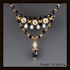 Beadwoven, Beaded, Beadwork, Jet and Crystal Flower Margarita Necklace via Etsy