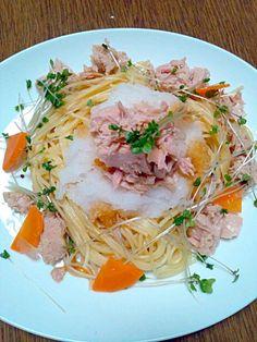 スパゲティ  大根おろし  シーチキン の順に乗せて お好みの醤油をかけて食べますo(^o^)o - 15件のもぐもぐ - 大根おろしとツナのスパゲティ~ by suzuran08120615